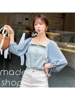 Fashion Chiffon Women Blouses Plaid Womens Tops and Blouses Blusas Femininas Elegante Women Shirts