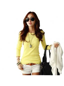 T Shirt Women Fashion Autumn Long Sleeve O Neck tShirts Women Candy Color Cotton Women T Shirt Camisetas Feminina