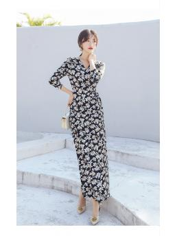 Women Maxi Wrap Dresses Floral Bohemian Beach Ankle-length Three-quarter Sleeve Lace-up Adjustable Waist Elegant Dress