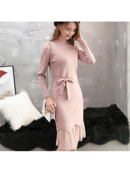 Fashion Women Sweater Dress Woman Knitted Dresses Elegant Women Lace Patchwork Sweaters Dress Woman High Waist Beading Sweater Dress Elegant Womens Pullovers Sweaters Dresses